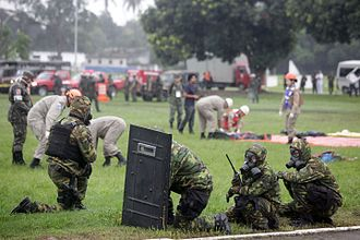 CBRN defense - Brazilian troops prepared for biological warfare.