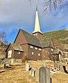 Fåvang Church (kirke) c. 1630, at Tromsnesvegen, Fåvang, Ringebu, Gudbrandsdalen, Oppland, Norway. Graveyard (kirkegård), grave, springtime, Korstadkampen, etc. 2017-04-05 4069.jpg