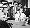 Férfiak csoportja íróasztalnál, írógéppel (1937) Fortepan 7129.jpg