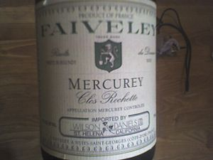 Côte Chalonnaise - A bottle of Mercurey wine from one of the négociants in the Côte Chalonnaise