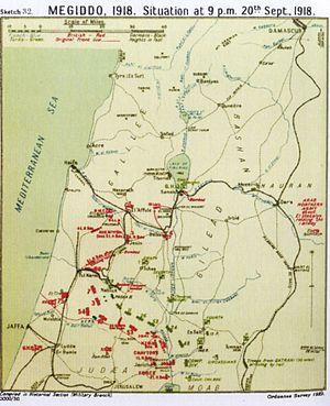 Battle of Arara - Falls Map 32 Megiddo Situation at 21:00 20 September 1918