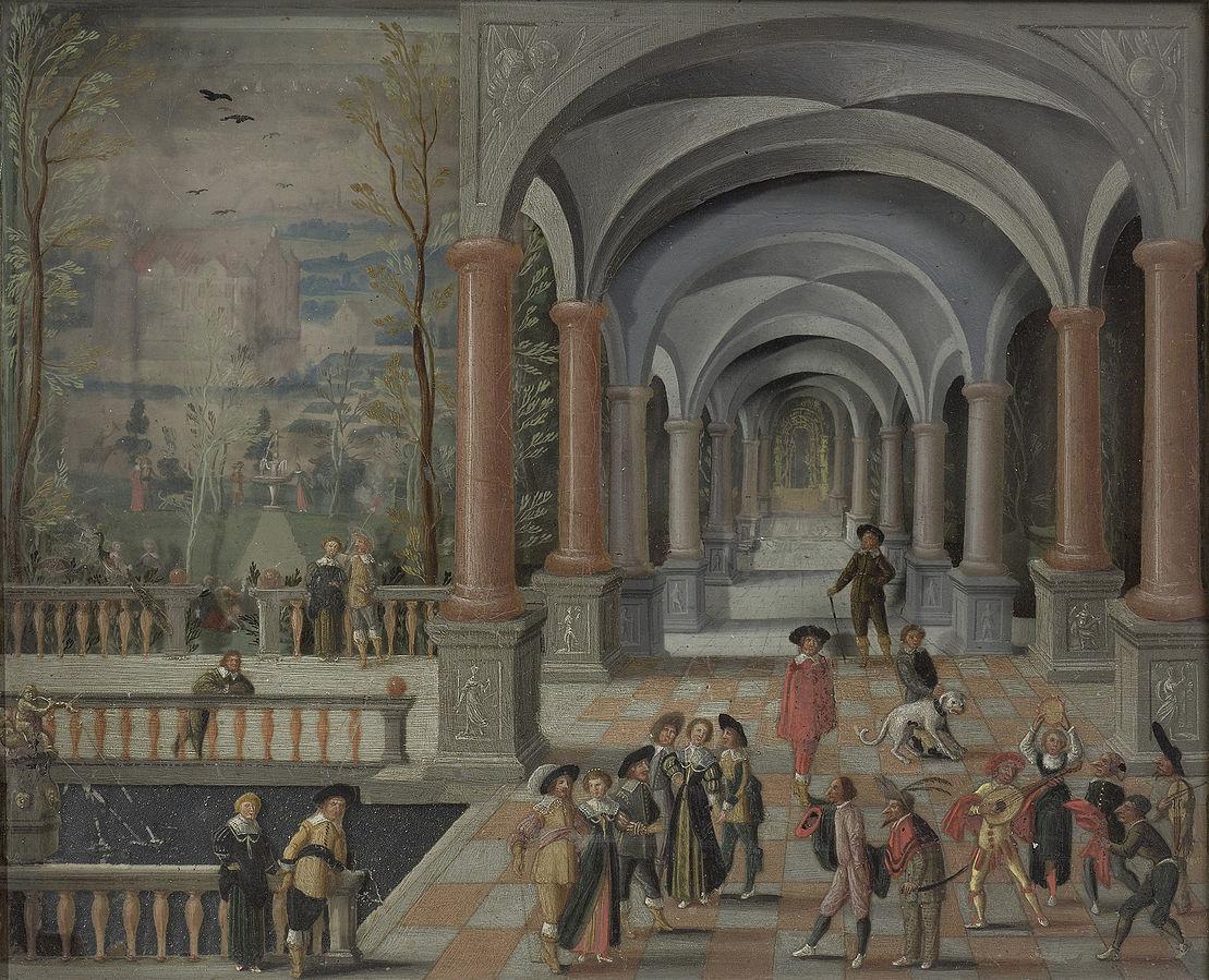 Feestvierend gezelschap en figuren uit de Commedia dell'Arte in een galerij