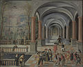Feestvierend gezelschap en figuren uit de Commedia dell'Arte in een galerij Rijksmuseum SK-NM-8041.jpeg