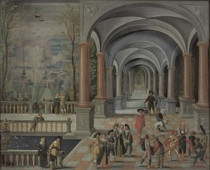 Festive Gathering and Figures from a Commedia dell'Arte in a Gallery