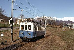 Lugano–Ponte Tresa Railway - One of the three original motor cars, still in service in 1978.