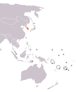Map indicating locations of Fiji and South Korea