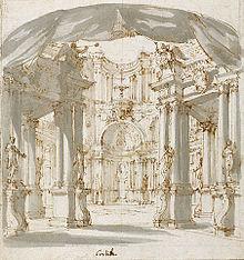 """Bühnenbild """"Hof in einem Palast"""" von Filippo Juvarra, wahrscheinlich für eine Oper von Domenico Scarlatti (Quelle: Wikimedia)"""