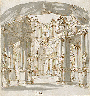 Teatro Capranica - One of Filippo Juvarra's preliminary set designs for Tito e Berenice which premiered at the Capranica in 1714