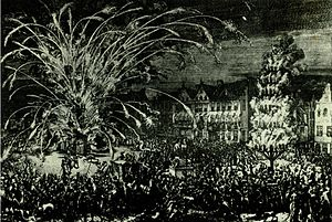 Battle of Buda (1686) - Fireworks in Brussels in commemoration of the recapture of Buda from the Turks in 1686