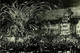 Siege of Buda (1686) - Fireworks in Brussels in commemoration of the recapture of Buda from the Turks in 1686