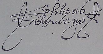 Felipe Bigarny - A signature with an italianized form of his name, Philipus Biguerny.