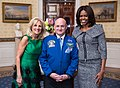 First Lady Michelle Obama and Dr. Jill Biden greet Scott Kelly, First Lady's State of the Union box guest, in the Blue Room of the White House, Jan. 20, 2015.jpg
