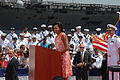 First lady at welcome home ceremony 090731-N-GA946-061.jpg