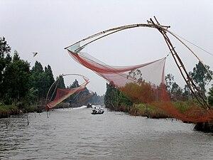 Cà Mau Peninsula - Fishing nets rigged in the waterways of the Cà Mau Peninsula