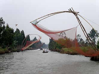 Chinese fishing nets - Image: Fishing, Cà Mau
