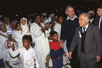 Yitzhak Shamir - Shamir greets new immigrants from Ethiopia, 1991