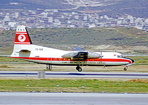 Turkish Airlines - THY Fokker F27 Friendship landing at Athens (Hellenikon) Airport in 1973