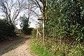 Footpath waymarker and stile north of Three Cups Corner - geograph.org.uk - 1252909.jpg