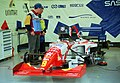 Footwork FA16 - Max Papis in the pit garage at the 1995 British GP, Silverstone (49712432836).jpg