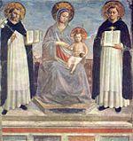 Thomas d Aquin (droite), saint Dominique et la Vierge Marie à l enfant, de Fra Angelico, 1420, fresque, 196 x 187cm, Saint-Pétersbourg, Musée de l Ermitage.
