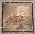 Fragment of wall painting with erotic scene, from Pompeii, Naples National Archaeological Museum (17116215967).jpg