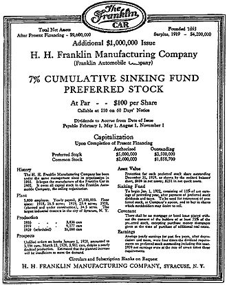 H. H. Franklin Manufacturing Company - Preferred Stock - H. H. Franklin Manufacturing Company, April 8, 1920