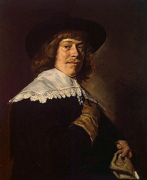 Claes Duyst van Voorhout - Image: Frans Hals Portrait of a Young Man Holding a Glove WGA11160