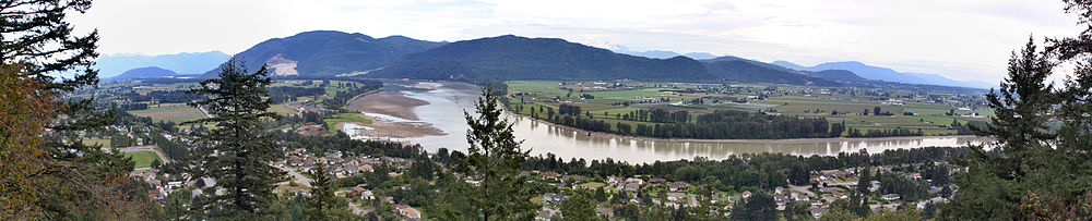Fraser River as seen from the grounds of Westminster Abbey, above Hatzic in Mission, British Columbia. Sumas Mountain in background.