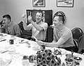 Fred Haise (left), Jim Lovell, and Jack Swigert, at breakfast on launch day.jpg