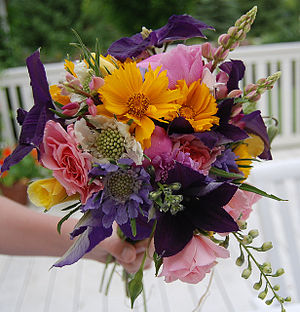 i made this last evening from the flowers that...