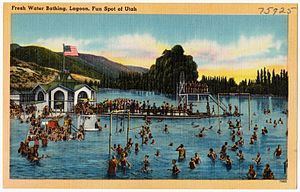Lagoon (amusement park) - Swimmers on 1940s postcard