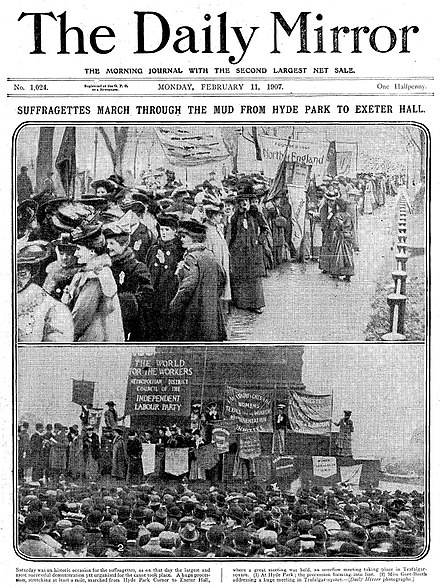Front page of The Daily Mirror, 11 February 1907