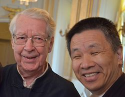 Chen Maiping (right) and Göran Malmqvist at the Swedish Academy's announcement of the 2012 Nobel Prize in Literature.