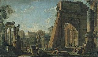 Capriccio met architecturale motieven van het Forum Romanum