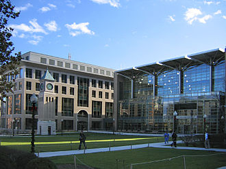 Georgetown University Law Center - The Hotung International Law Building and fitness center at the Georgetown Law campus.