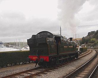 Dartmouth Steam Railway - Regular steam locomotive GWR 2-8-0T Class 42xx No. 4277 'Hercules' runs round the train at Kingswear