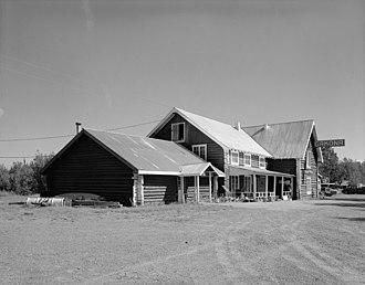 Gakona, Alaska - Side view of the Gakona Roadhouse, a major community building