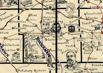 Buchanan County, Iowa - This detail of Galbraith's 1897 Rail Service Map of Iowa shows Buchanan County towns of the time. It is a pictorial map rather than a technical map: Shady Grove, for example, is shown next to a man lying under a tree; Masonville is shown next to a Masonic symbol. Some of the towns' locations are slightly altered to make room for the illustrations. Several of these towns, including Hamerville, Vista, Kier, Middlefield, Newtonville, and Castleville no longer exist. A few are nearly ghost towns.