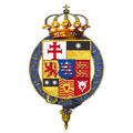 Gartered coat of arms of Frederick II, Landgrave of Hesse-Kassel, KG.png