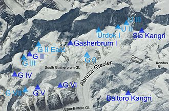 Gasherbrum - Gasherbrum group as seen from the ISS