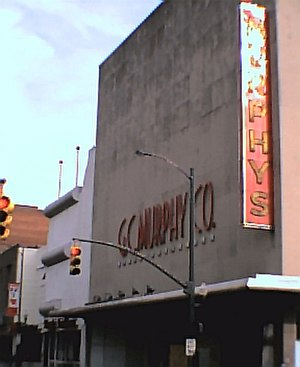 G. C. Murphy - G.C. Murphy's Richmond, Virginia, store on Broad Street and Fourth designed by Murphy corporate architect Harold Ellsworth Crosby. It was demolished to make way for a parking lot in 2004.