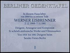 Gedenktafel Bismarckallee 32a (Grunw) Werner Eisbrenner
