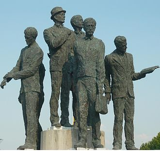 Boatmen of Thessaloniki - Monument in honour of the Gemidzhii, in the centre of Skopje, Macedonia