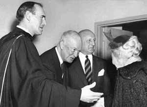 Pledge of Allegiance (United States) - Rev. Dr. George MacPherson Docherty (left) and President Eisenhower (second from left) on the morning of February 7, 1954, at the New York Avenue Presbyterian Church.
