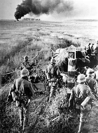German troops at the Soviet state border marker, 22 June 1941 German troops crossing the Soviet border.jpg