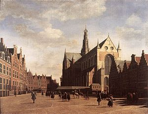 1696 in art - Berckheyde – The Market Square at Haarlem with the St. Bavo, Frans Hals Museum
