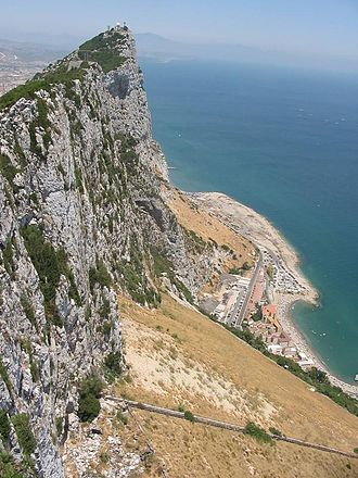 Twelfth Siege of Gibraltar - The sheer east side of the Rock of Gibraltar, which was scaled by a Bourbon Spanish force on 11 November 1704 to carry out an unsuccessful surprise attack