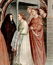 Giotto di Bondone details of figures at the Golden Gate in the Meeting of Anna and Joachim