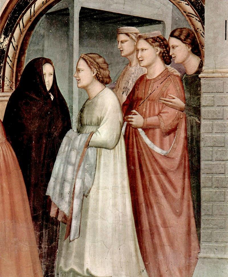 Giotto di Bondone detalles de figuras de la puerta de oro en la Reunión de Ana y Joaquín