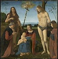 Giovanni Antonio Boltraffio - Virgin and Child with Sts John the Baptist and Sebastian (Pala Casio) - WGA2384.jpg